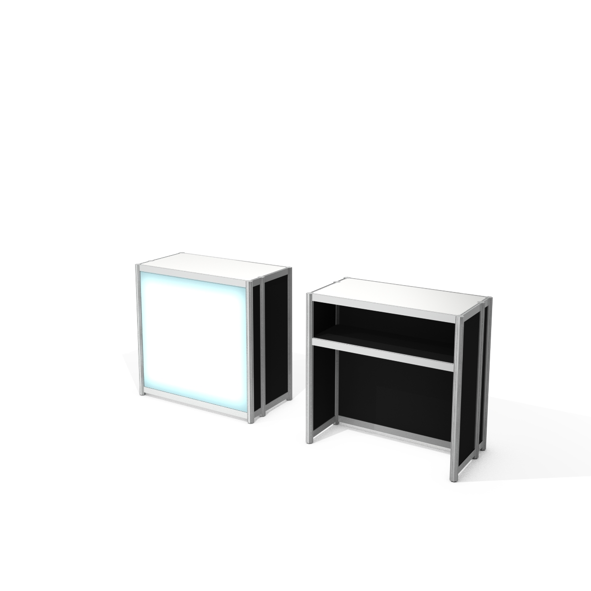 Aluminum frame counter with melamine infill, backlit facade - Black without personalization