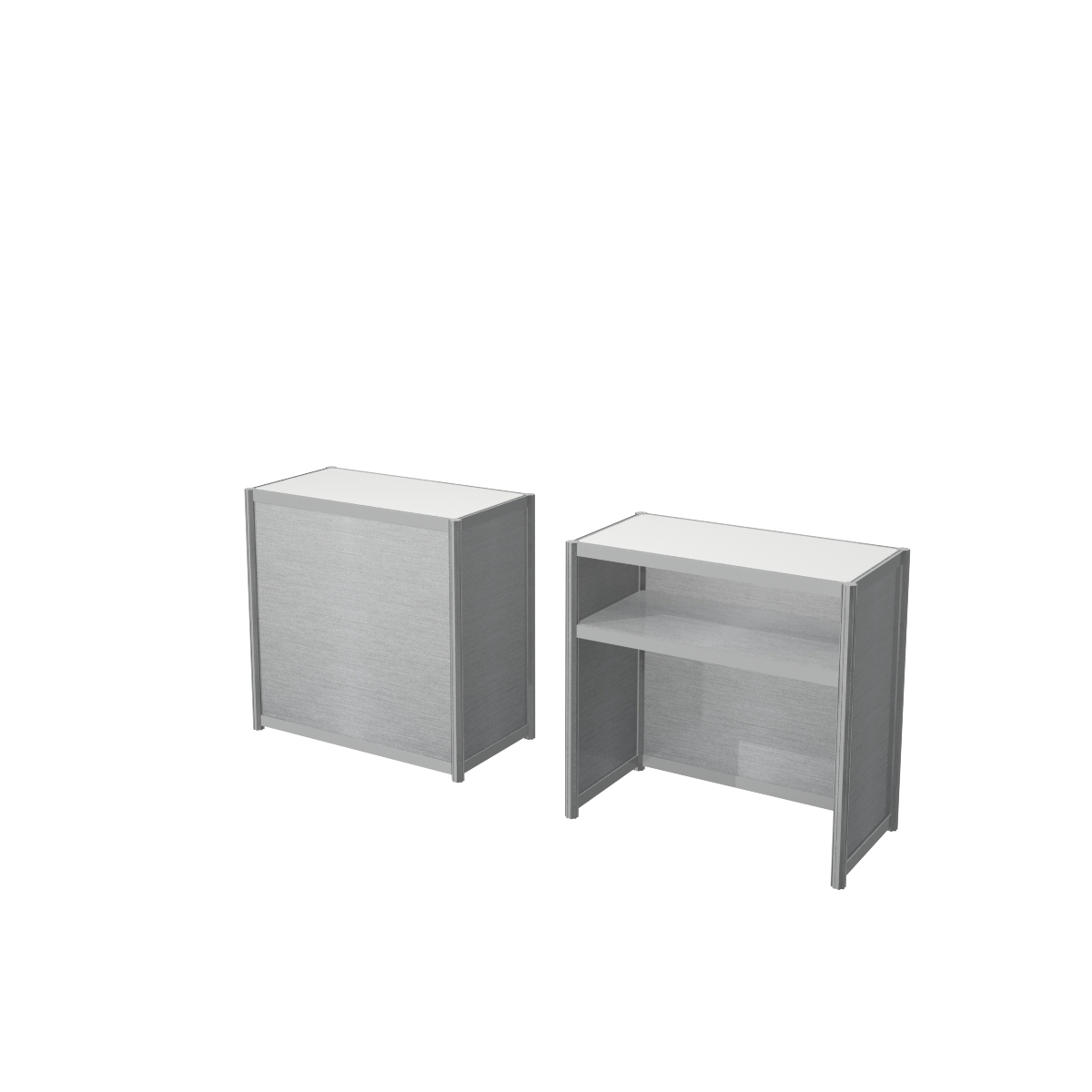 Aluminum frame counter with melamine infill and flush countertop - Brushed aluminum
