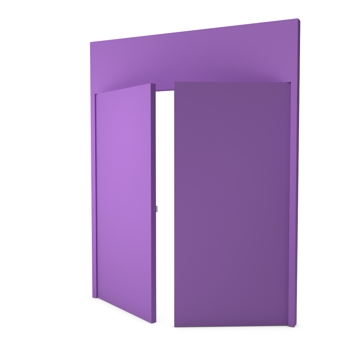 Double door covered in solid-color textile - Lilac