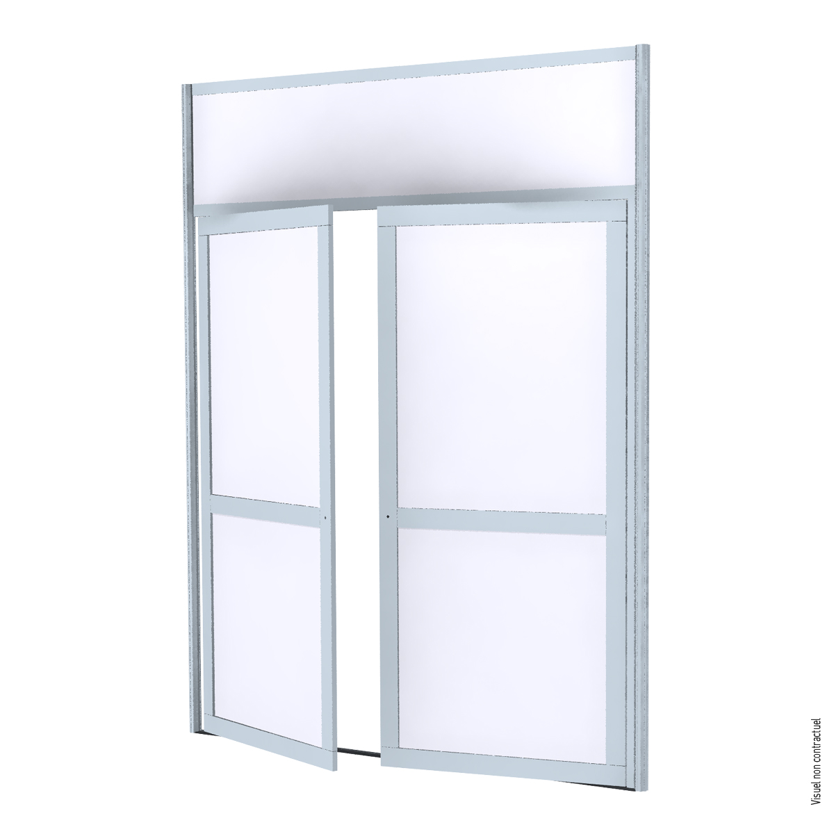 Double aluminum frame door with melamine infill - White