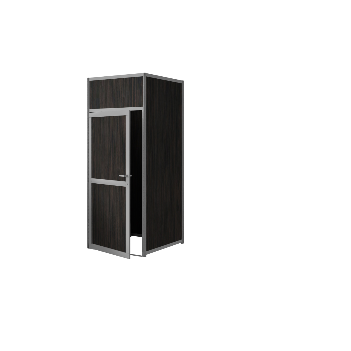 Free-standing aluminum frame storage cabinet with melamine infill - Wenge